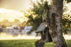 Beautiful sunrise over foggy river with close up of birdhouse an Royalty Free Stock Photography