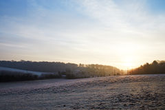 Beautiful Sunrise Over Frosty Country Landscape Royalty Free Stock Photos