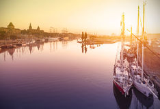 Beautiful sunrise over harbor. Royalty Free Stock Image