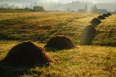 Beautiful sunrise over haystacks Stock Image