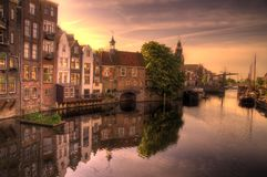 Beautiful sunrise over historical Delfshaven Royalty Free Stock Image