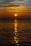 Beautiful sunrise over the horizon. Dramatic clouds Royalty Free Stock Photos