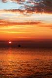 Beautiful sunrise over the horizon. Dramatic clouds Royalty Free Stock Photo