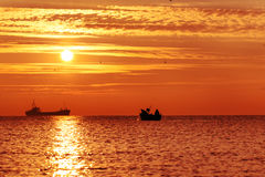 Beautiful sunrise over the horizon. Dramatic clouds Stock Photo