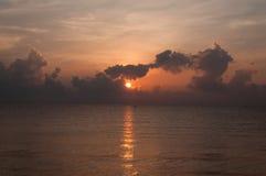 Beautiful sunrise over the horizon in the sea with clouds, Hua Hin, Thailand. Beautiful sunrise over the horizon in the sea with clouds, Hua Hin, Thailand Royalty Free Stock Photo