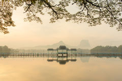 Beautiful sunrise over Kan Thar Yar lake in Hpa An Stock Photos