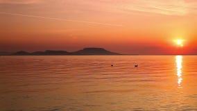 Beautiful sunrise over the lake Balaton of Hungary stock footage