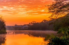 Beautiful sunrise over lake in the morning Stock Photos