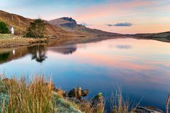 Sunrise at Loch Fada stock images
