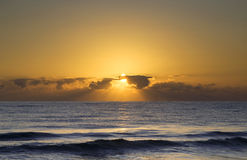 Beautiful sunrise over the Mediterranean Sea. The beautiful moments just as the sun pops over the horizon over the Mediterranean Sea Royalty Free Stock Photo