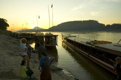 Sunrise over the Mekong river Royalty Free Stock Photo