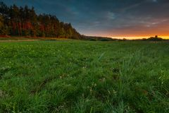 Beautiful sunrise over misty meadow Stock Image