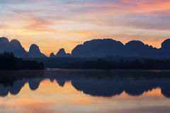 Beautiful sunrise over mountain krabi Royalty Free Stock Images