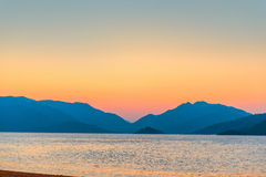 Beautiful sunrise over the mountains Stock Photography