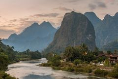 Beautiful sunrise over the Nam Song river near the Vang Vieng village. Laos Stock Photo