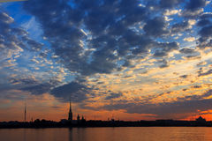A beautiful sunrise over the Neva River, Saint-Petersburg, Russi Royalty Free Stock Photo