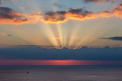 Beautiful sunrise over the ocean in Spain.  Royalty Free Stock Photos
