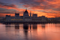 Beautiful sunrise over the Parliament in Budapest