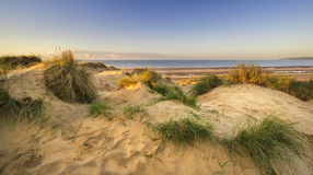 Beautiful sunrise over sand dunes system on yellow sand golden b Royalty Free Stock Images
