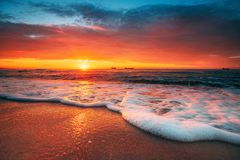 Beautiful sunrise over the sea royalty free stock photography