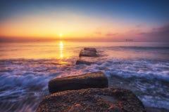 Beautiful sunrise over the sea royalty free stock photos