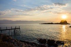 Beautiful sunrise over the sea. In greece Stock Photo