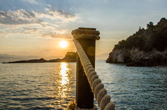 Beautiful sunrise over the sea. In greece Royalty Free Stock Image