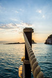 Beautiful sunrise over the sea. In greece Royalty Free Stock Photography