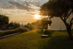 Beautiful sunrise over the sea. In greece Royalty Free Stock Images
