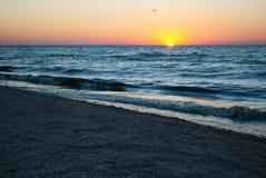 Beautiful dawn, red sun, purple pink sky, clear sky, sunrise over the sea, blue sea, waves Royalty Free Stock Image