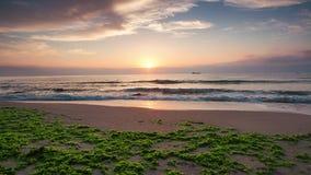 Beautiful sunrise over the sea. Splashing waves on the beach, video. stock video