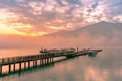 Beautiful sunrise over Sun Moon Lake stock images
