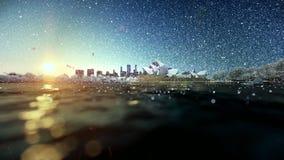 Beautiful sunrise over Sydney Opera House, snowing stock video footage