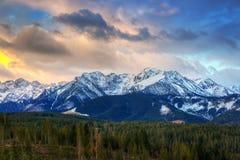 Beautiful sunrise over Tatra mountains in winter. Poland Royalty Free Stock Photo