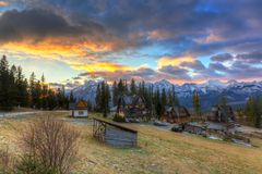 Beautiful sunrise over Tatra mountains in winter. Poland Stock Photos