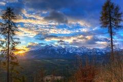Beautiful sunrise over Tatra mountains in winter. Poland Stock Photography