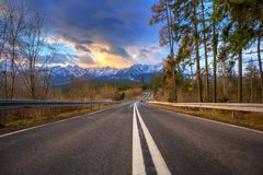 Beautiful sunrise over Tatra mountains in winter. Beautiful sunrise on the road of Tatra mountains, Poland Stock Images