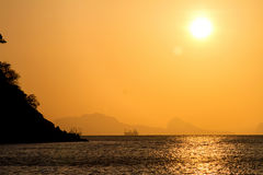 Beautiful sunrise over the tropical beach, andaman Sea, koh lant Stock Photography