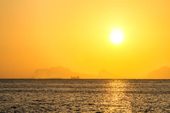 Beautiful sunrise over the tropical beach, andaman Sea, koh lant Royalty Free Stock Images