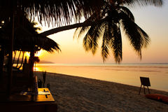 Beautiful sunrise over the tropical beach on Samui Stock Photography