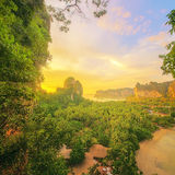 Beautiful sunrise over the tropical beach, Thailand. Vacation and background concept Royalty Free Stock Photo