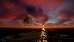Beautiful sunrise over tropical island and ocean, godrays, tilt. Hd video stock video footage