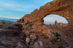 Beautiful sunrise over Turret Arch through North Window Royalty Free Stock Images