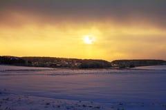 Beautiful sunrise over the village stock photos