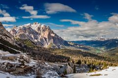 Beautiful sunrise in the Passo Falzarego in spring, Dolomites, Italy stock photography