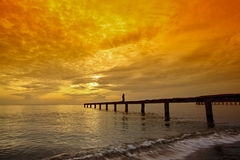 Beautiful sunrise. With pier at Samila beach Songkhla,Thailand Royalty Free Stock Photos