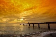 Beautiful sunrise. With pier at Samila beach Songkhla,Thailand royalty free stock photos