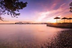 Beautiful sunrise at Porec in Adriatic sea coast of Croatia Euro Royalty Free Stock Photography