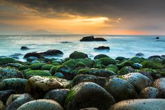 Nature Seascape with Green Moss Covered Rocks Beautiful Sunrise at Queen Beach stock image