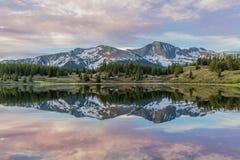Colorado Mountain Lake Reflection at Sunrise. A beautiful sunrise reflection on a Colorado mountain lake Royalty Free Stock Image